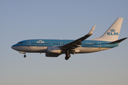 plane landing: Commercial klm passenger plane landing at the runway