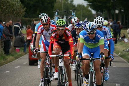 VALKENBURG, NETHERLANDS - SEPTEMBER 29, 2012: Platoon of cyclists during the cycling world championship in September 29.2012 in Valkenburg, The Netherlands