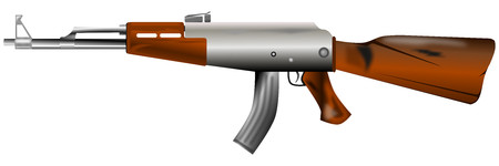 ak47: weapon of war ak47 composed of metal and some wood Illustration