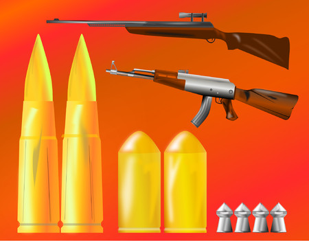 bullets: weapons and bullets in the foreground Illustration