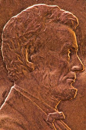 One cent copper coin close-up of President Lincoln Stock Photo - 3345928