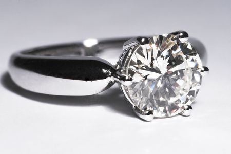 Two carat diamond engagement ring with white background