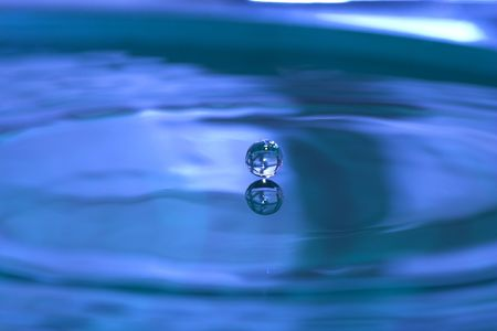 Blue water drops Stock Photo