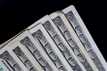 US one hundred dollar bill close-up with black background Stock Photo - 3455678