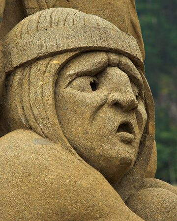 Sand sculpture with a worried look