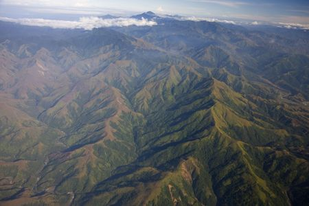 Overview of the tropical mountains from the air