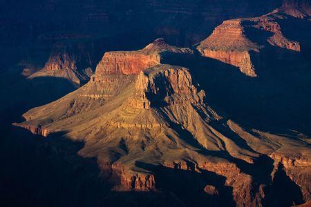 Grand canyon sunset close-up Stock Photo
