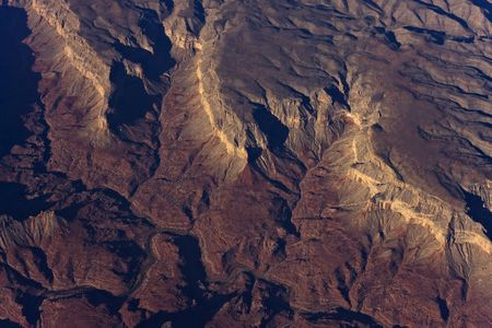 Sunrise aerial shot of the Grand Canyon Stock Photo