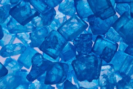 Extreme macro of blue sugar crystals