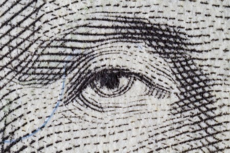 Extreme closeup of the US one dollar bill details Stock Photo