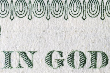 Extreme closeup of the one dollar note In God Stock Photo