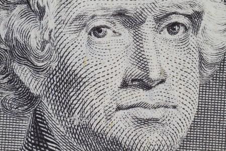 Thomas Jefferson closeup on the two dollar note Stock Photo - 8072227