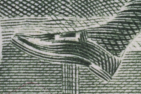 Extreme closeup of the shoe of John Hancock from the two dollar bill