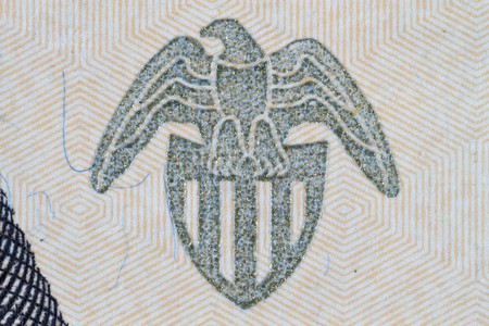 Extreme closeup of the Federal Reserve seal on the Twenty dollar note Stock Photo