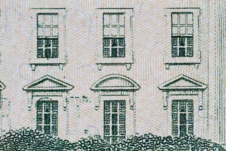 Extreme closeup of the White house windows on the ten dollar note Stock Photo