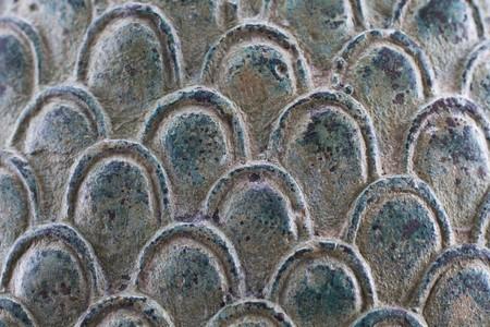 Closeup of metal fish scale sculpture Stock Photo