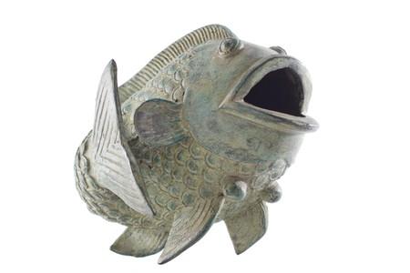 koi: Asian style metal ornamental koi fish on a white background