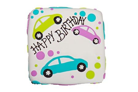 Happy birthday fondant cake with a white background Stock Photo