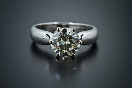 Two carat diamond ring with a dark background  Stock Photo