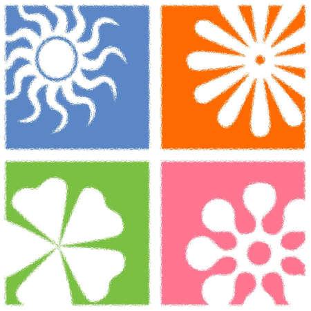 symbole: Colourful flower patern tile
