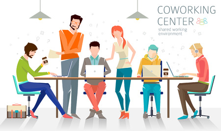 Concept of the coworking center. Business meeting. Shared working environment. People talking and working  at the computers in the open space office. Flat design style. Ilustracja