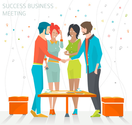 Concept of success business meeting  handshake  good deal   vector illustration Çizim