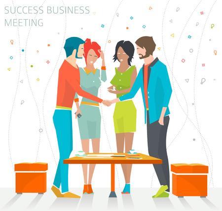 buen trato: Concepto de la reunión de éxito en los negocios  apretón de manos  mucho  ilustración vectorial Vectores