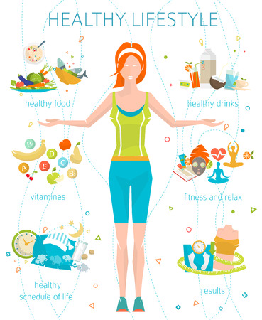 Concept of healthy lifestyle / young woman with her good habits / fitness, healthy food, metrics / vector illustration / flat style