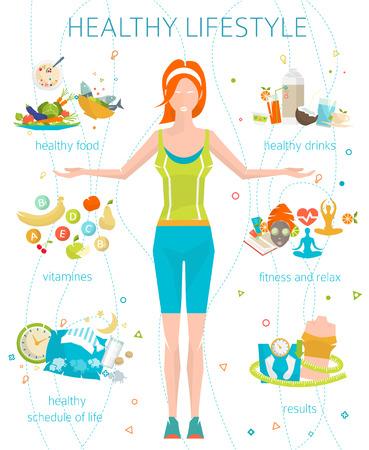 Concepto de estilo de vida saludable / mujer joven con su buenos hábitos / gimnasio, comida sana, métricas / ilustración del vector / estilo plano