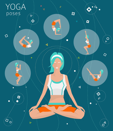 energy balance: Concept of healthy lifestyle  young woman practices yoga  yoga meditation  set of poses  Padmasana  Lotus pose  vector illustration  flat style Illustration