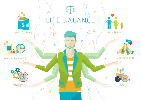 Concept of work and life balance  dividing of human energy between important life spheres  Vector illustration. Vector