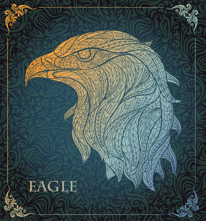 head wise: Patterned head of eagle on the floral background. African  indian  totem  tattoo design. It may be used for design of a t-shirt, bag, postcard, a poster and so on. Illustration