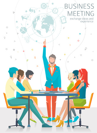 Concept of business meeting  leadership  exchange ideas and experience  coworking people  collaboration and discussion  vector illustration