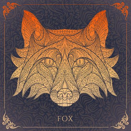 花の背景に赤狐のパターンの頭。アフリカインドトーテムタトゥーのデザイン。T シャツ、バッグ、ポストカード、ポスターのデザインのように使