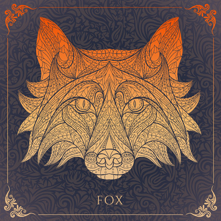 Patterned head of the red fox on the floral background. African  indian  totem  tattoo design. It may be used for design of a t-shirt, bag, postcard, a poster and so on. Illustration