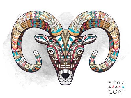Patterned tête de chèvre sur le fond grunge. Totem indien conception de tatouage africaine. Il peut être utilisé pour la conception d'un t-shirt, sac, carte postale, une affiche et ainsi de suite.