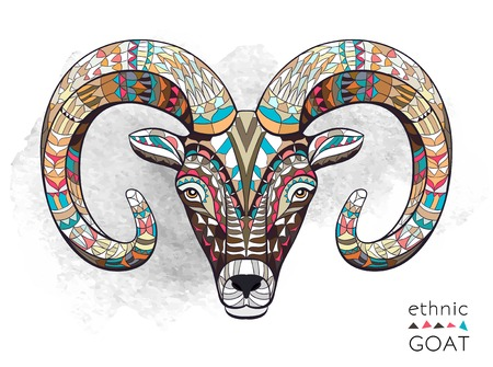 Patterned head of goat on the grunge background. African indian totem tattoo design. It may be used for design of a t-shirt, bag, postcard, a poster and so on.