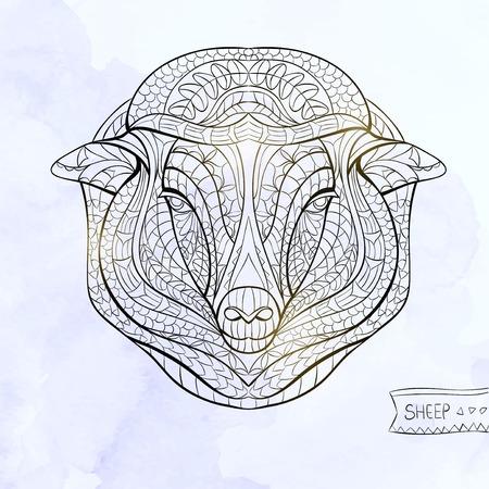 totem indiano: Patterned capi di ovini sullo sfondo del grunge. Africano  disegno  totem  tatuaggio indiano. Pu� essere usato per la progettazione di una maglietta, sacchetto, cartolina, un poster e cos� via.