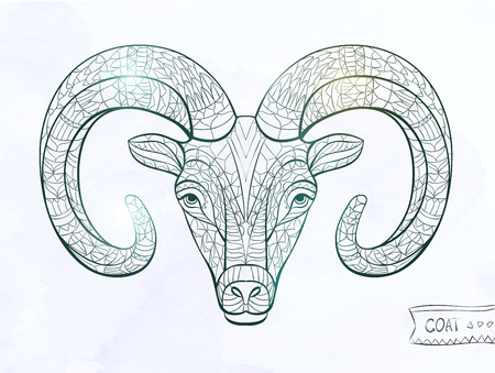 Patterned head of goat on the grunge background. African / indian / totem / tattoo design. It may be used for design of a t-shirt, bag, postcard, a poster and so on. Çizim