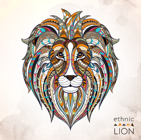 Patterned head of lion on the grunge background. African / indian / totem / tattoo design. It may be used for design of a t-shirt, bag, postcard, a poster and so on. Illustration