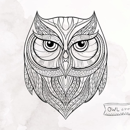 Patterned owl on the grunge background. African  indian  totem  tattoo design. It may be used for design of a t-shirt, bag, postcard, a poster and so on.
