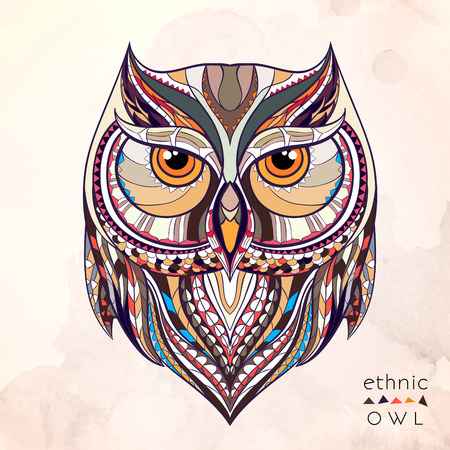 owl symbol: Patterned owl on the grunge background. African  indian  totem  tattoo design. It may be used for design of a t-shirt, bag, postcard, a poster and so on.