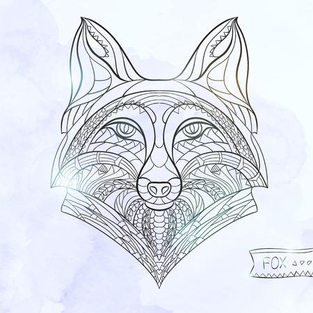 zorro: Cabeza del zorro con dibujos en el fondo del grunge. Dise�o  totem  tatuaje de �frica  India. Puede ser utilizado para el dise�o de una camiseta, bolso, tarjeta postal, un cartel y as� sucesivamente.