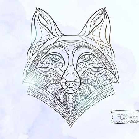 fox: Patterned head of the fox  on the grunge background. African  indian  totem  tattoo design. It may be used for design of a t-shirt, bag, postcard, a poster and so on.