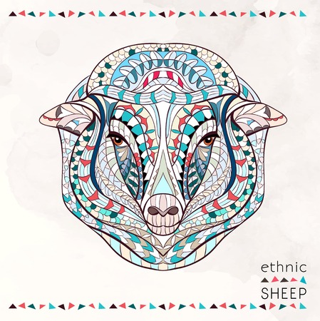 Patterned head of sheep on the grunge background. African  indian  totem  tattoo design. It may be used for design of a t-shirt, bag, postcard, a poster and so on.