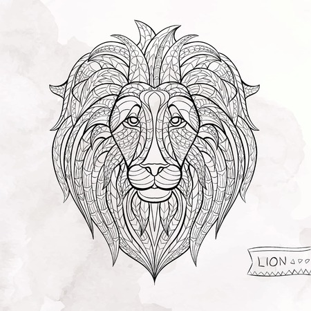 Patterned head of lion on the grunge background. African  indian  totem  tattoo design. It may be used for design of a t-shirt, bag, postcard, a poster and so on.