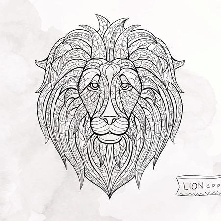 totem indiano: Patterned testa di leone sullo sfondo del grunge. Africano  disegno  totem  tatuaggio indiano. Pu� essere usato per la progettazione di una maglietta, sacchetto, cartolina, un poster e cos� via.