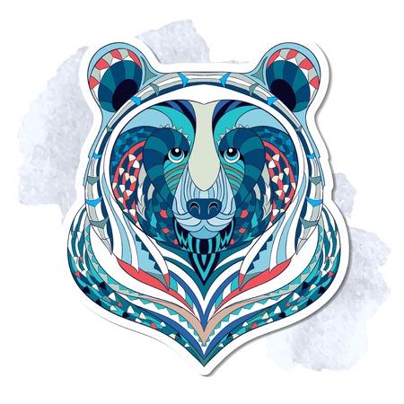 oso: Cabeza de oso con dibujos en el fondo del grunge. Diseño del tatuaje del tótem indio africano. Puede ser utilizado para el diseño de una camiseta, bolso, tarjeta postal, un cartel y así sucesivamente. Vectores