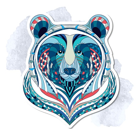 Patterned head of bear on the grunge background. African indian totem tattoo design. It may be used for design of a t-shirt, bag, postcard, a poster and so on.