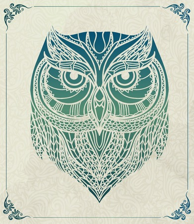 graphics design: Patterned owl on the floral background. African indian totem tattoo design. It may be used for design of a t-shirt, bag, postcard, a poster and so on.